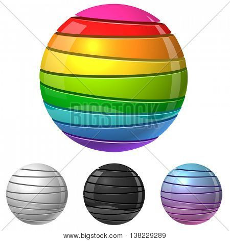 Colorful sliced sphere sign vector template with white, black and gradient variants. Glossy cut color balls isolated on white background.
