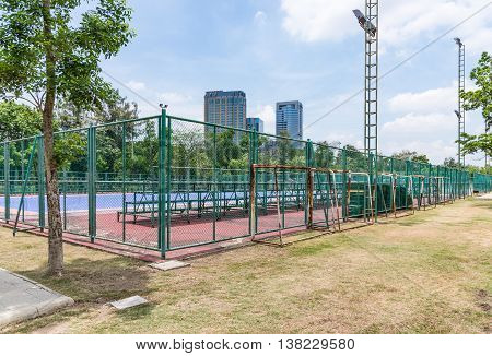 Small football field in the sport area of the city parkThailand.