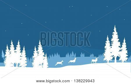Silhouette of Christmas scenery deer in the snow