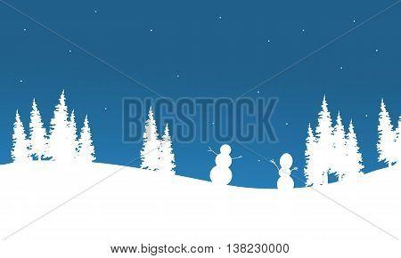 Silhouette of Snowman chrismas vector art illustration