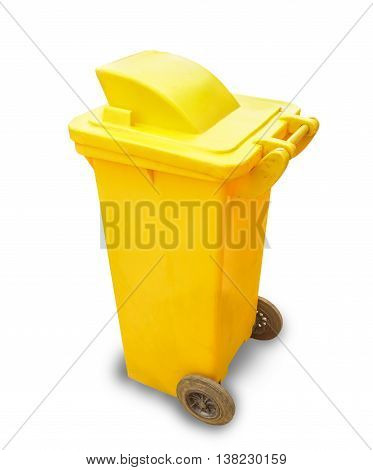 Yellow garbage bin isolated on white background