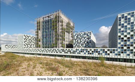 The Hague Netherlands - July 5 2016: The new 2016 opened International Criminal Court building located at the dunes.