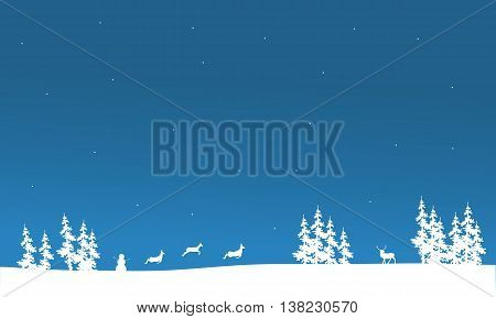 Christmas scenery of silhouette deer and spruce