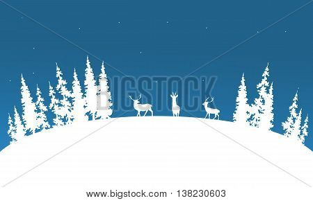 Silhouette of deer and spruce Christmas scenery illustration