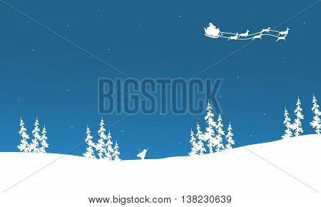 Silhouette of santa sleigh flying vector illustration