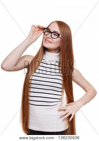 Redhead long-haired woman touch her eyeglasses. Young red ginger stylish girl in striped blouse. Beautiful attractive female portrait isolated at white background.