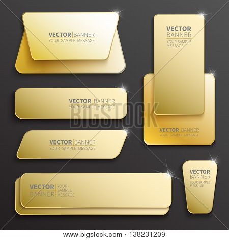 Set of glossy plastic banners for your design. Vector template illustration.