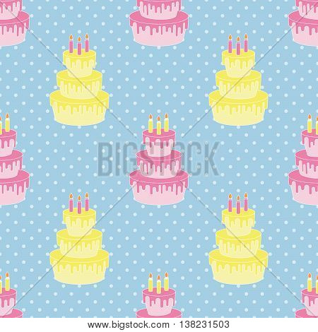 Birthday cake, Seamless vector illustration with cartoon cakes and candles