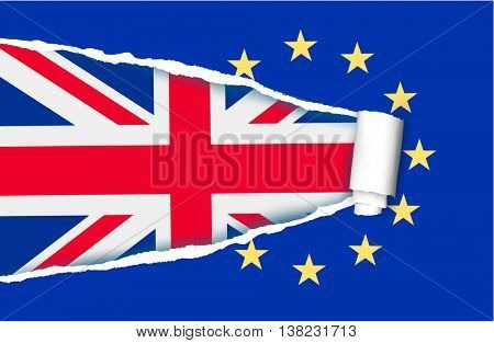 Background with flag of the UK and ripped flag of EU. Brexit concept. Vector.