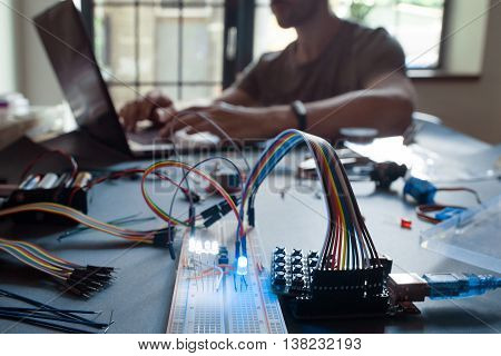 Technological education, student studying on laptop Electronic experiment at university. Modern technologies at college, learner workstation