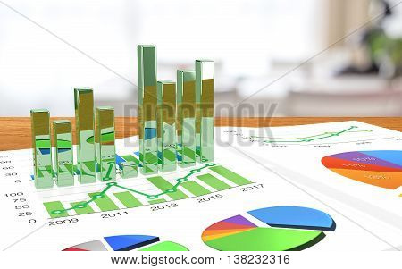 Desk with a business magazine and bar charts extruding from the page augmented reality concept 3D illustration