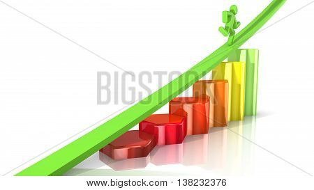 Bar chart with colors from red to green and an arrow on top with a runner 3D illustration business success concept