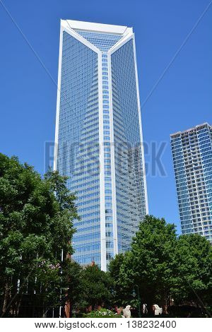 CHARLOTTE NC USA JUNE 24 2016: Duke Energy Center is skyscraper in Charlotte, it was the largest building in Charlotte (in square footage), second tallest building in Charlotte