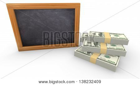 Empty blackboard on white next to a small pile of dollar free writing space 3D illustration