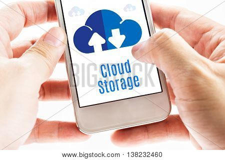 Close Up Two Hand Holding Smart Phone With Cloud Storage Word And Icons, Digital Concept