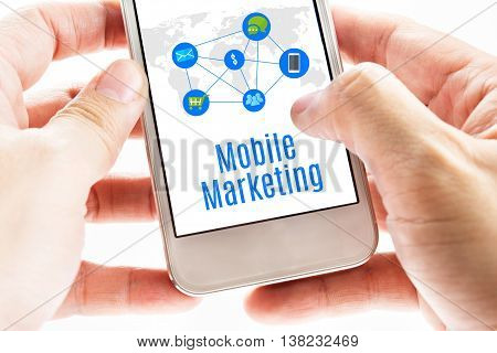 Close Up Two Hand Holding Smart Phone With Mobile Marketing Word And Icons, Digital Concept