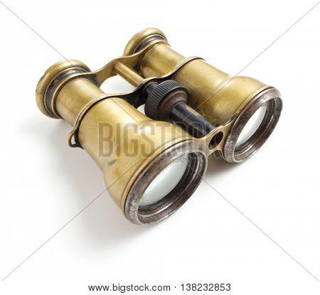 Vintage binoculars on white background