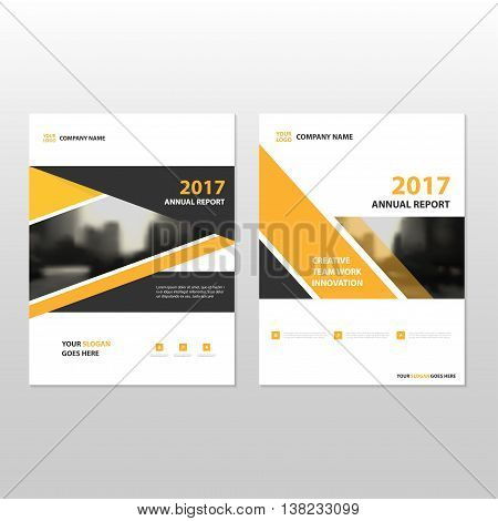Yellow black triangle Vector annual report Leaflet Brochure Flyer template design book cover layout design abstract business presentation template a4 size design