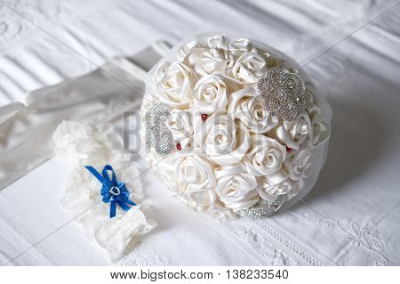 Artificial cloth bouquet garter and gloves - bride accessories