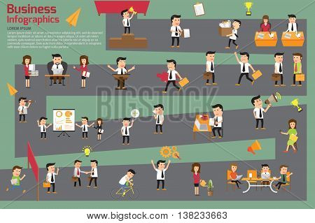 business workstation infographics. concept of business roadmap vector illustration.