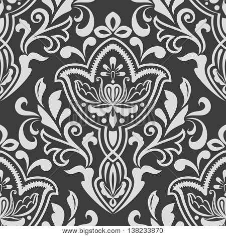 Black and white seamless floral wallpaper pattern vector template. Seamless wrapping paper, textile or upholstery print.