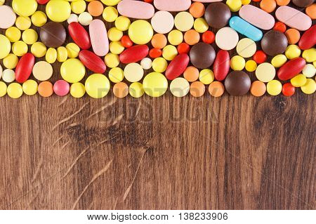 Colorful Medical Pills And Capsules, Health Care Concept, Copy Space For Text