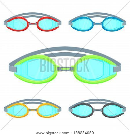 Pool goggles vector illustration isolated on a white background set . Colorful Swimming glasses flat icon