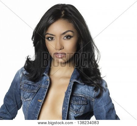 Beautiful young woman with long dark healthy hair