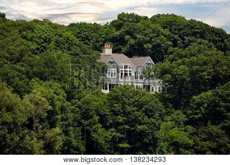 luxury estate in summer trees on a hill