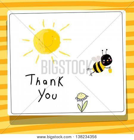 Bee vector cartoon thank you card illustration.