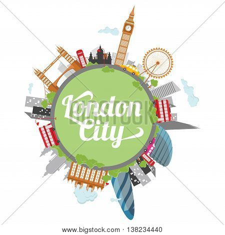 London city illustration with sun and silhouette concept
