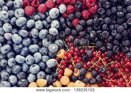 Fresh berries assortment , top view