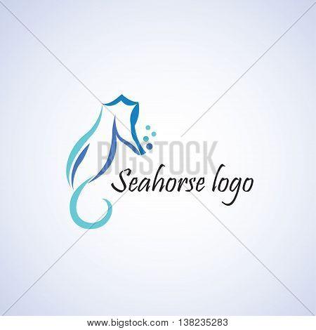 seahorse logo ideas design vector on background