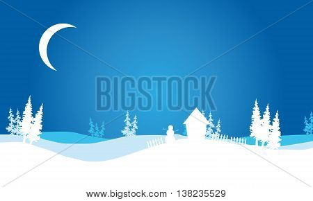 Silhouette of Christmas hills scenery backgrounds vector