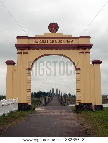 QUANG TRI, Vietnam, September 28, 2015 monuments Hien Luong Bridge, Ben Hai River crossing, the 17th parallel, Quang Tri Province, Vietnam