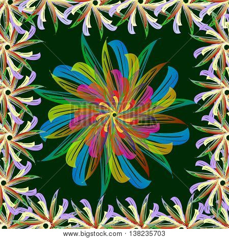 Abstract flower. Summer colors toucan tropical exotic and heat on a green background.