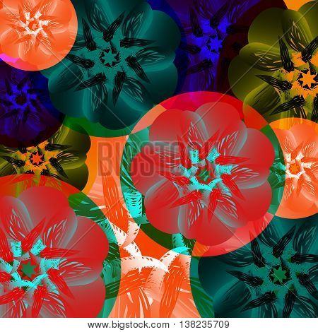 Abstract medal of flowers. Summer colors toucan tropical exotic and heat on a green background.