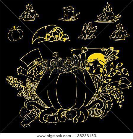 Thanksgiving doodle art vector on black backgrounds