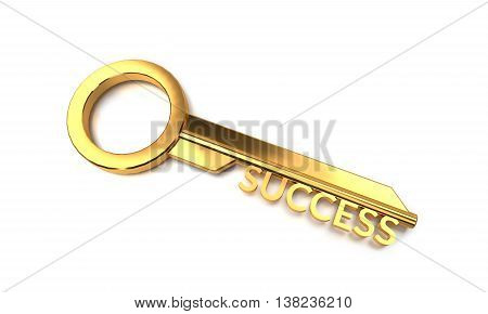 3d rendering Key to Success isolated on white background