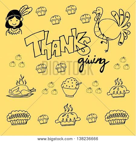 Thanksgiving element of doodle vector for kids
