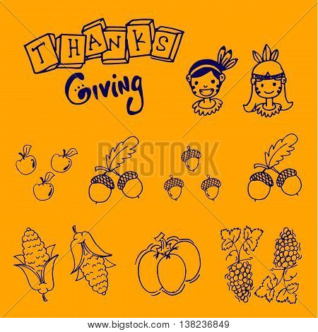 For kids doodle thanksgiving fruit and vegetable illustration