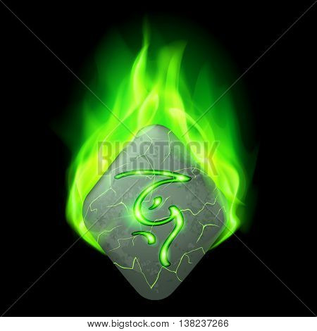 Secret diamond-shaped stone with magic rune in green flame