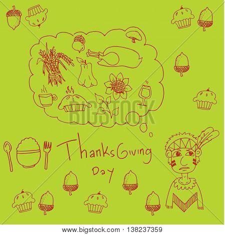 Thanksgiving for kids in doodle vector art