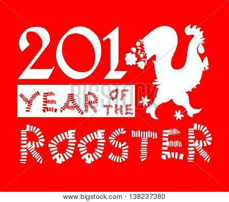 Year of the rooster - greeting card with silhouette of fairy rooster - chinese symbol of 2017 year. Red and white vector illustration.
