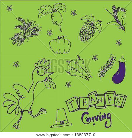 Doodle set Thanksgiving on green backgrounds illustration
