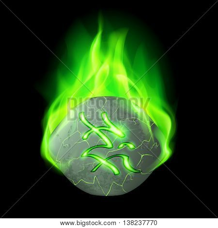 Cracked rough stone with magic rune burning in green flame