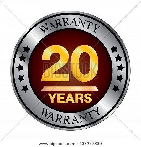 Twenty year warranty logo silver color and gold color.