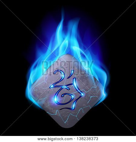 Ancient diamond-shaped stone with magic rune in blue flame