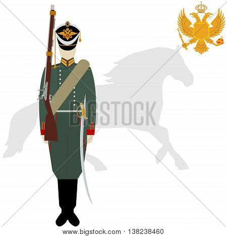 Soldiers in uniforms and weapons of the Russian army at the Battle of Borodino in 1812. The illustration on a white background.