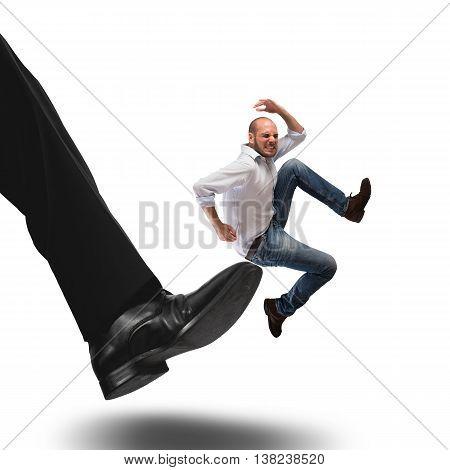 Man hit by kick of big foot